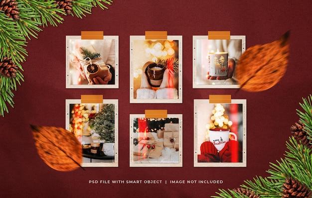 Наклейка на рождественскую фотобумагу с рамкой moodboard mockup
