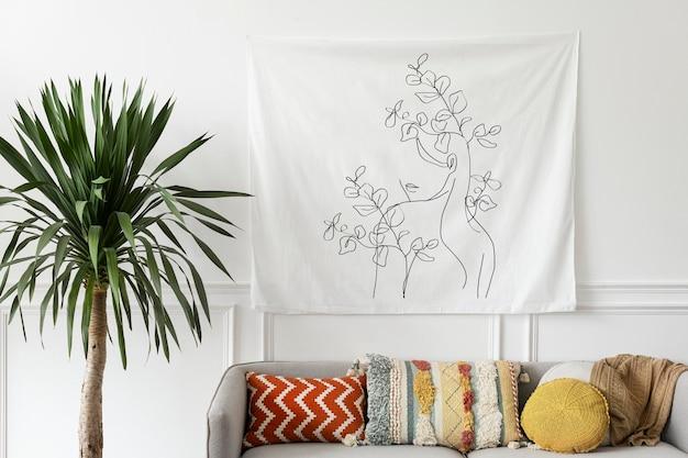 自由奔放なリビングルームのタペストリー壁モックアップpsd