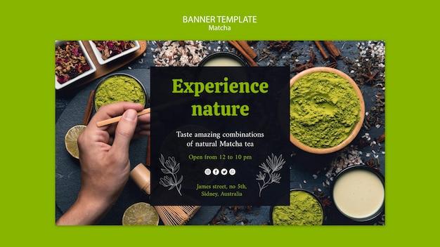 Taste matcha tea banner template