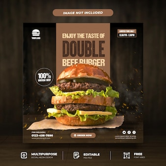 Tasty burger promotion social media template