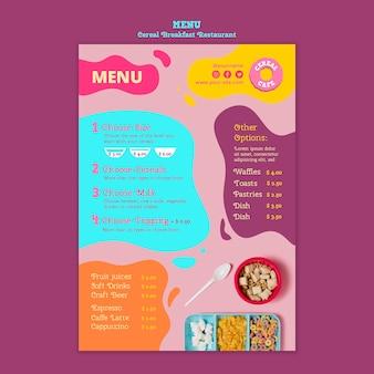 Tasty cereal breakfast restaurant menu