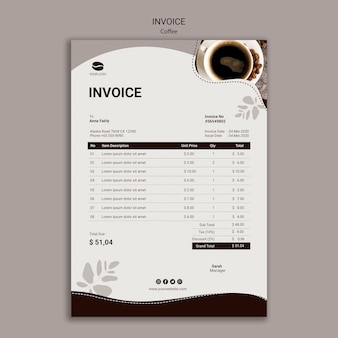 Tasty coffee invoice template