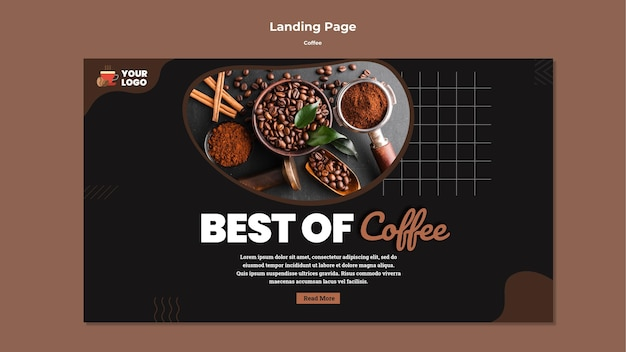 Tasty coffee landing page template