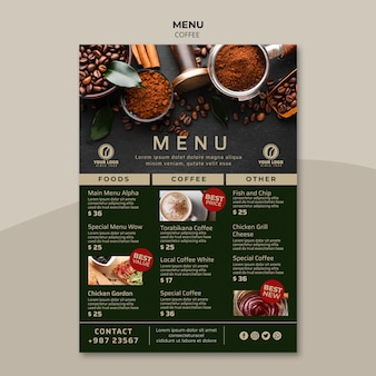 Tasty coffee menu template