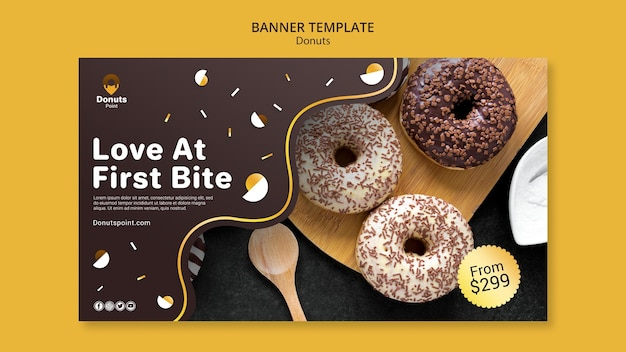Tasty donuts banner template