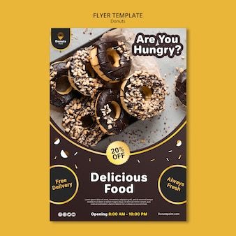 Tasty donuts flyer template