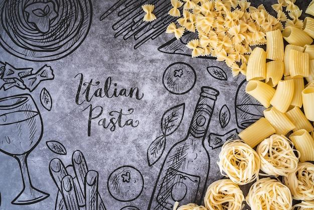 Вкусная итальянская паста с макетом