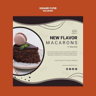 Вкусный macarons квадратный дизайн флаера
