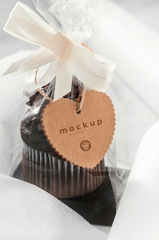 Tasty muffin in transparent packaging