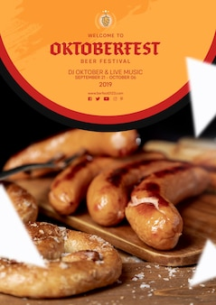 Tasty oktoberfest sausages on table