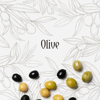 Tasty olives with mock up