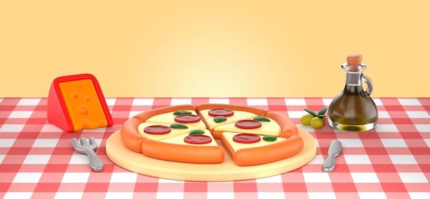 Макет рендеринга вкусной пиццы