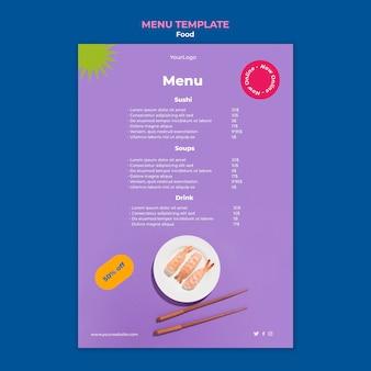 Modello di menu gustoso sushi
