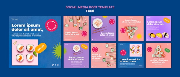 Tasty sushi social media post template