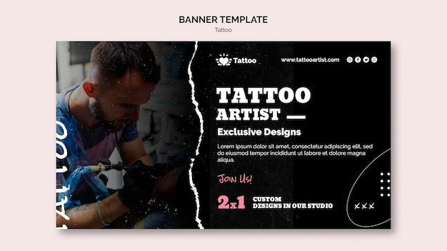 Tattoo artist banner template
