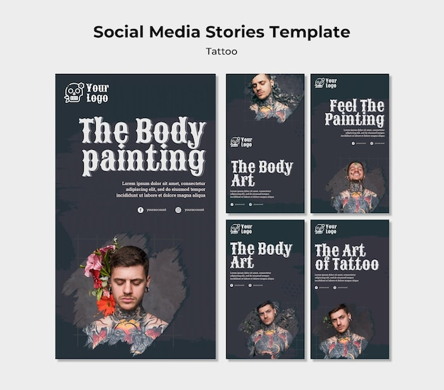 Tattoo artist instagram stories template