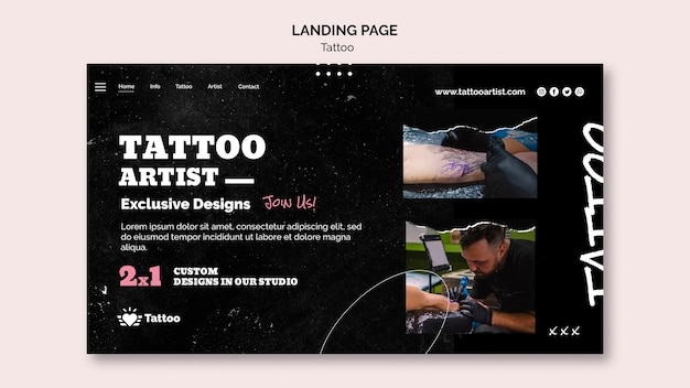Tattoo artist landing page template