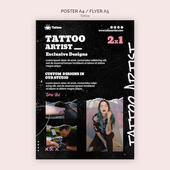 Tattoo artist poster template
