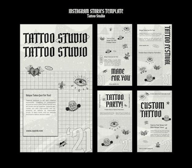 Modello di progettazione della storia di tattoo studio insta