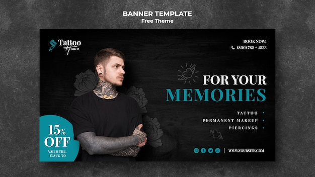 Tattoo for your memories banner template
