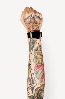 Tattooed hand and arm
