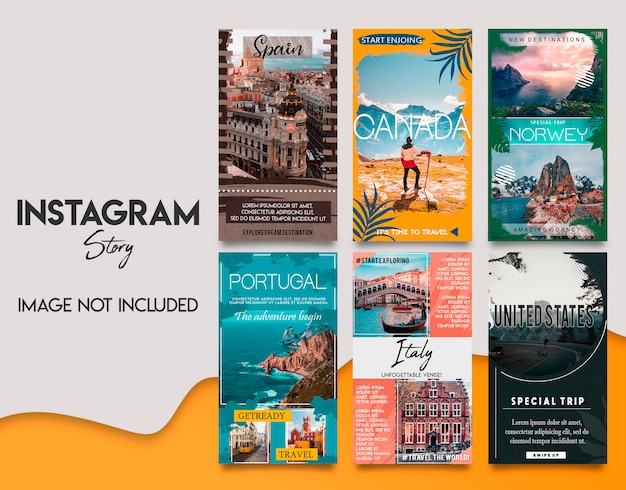 Tavel instagram stories template set