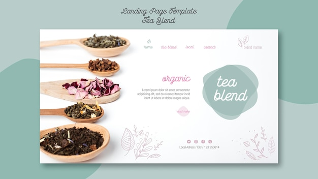 Tea blend landing page design
