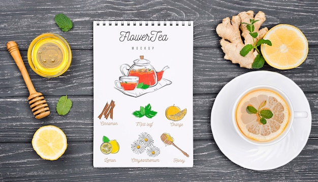 Концепция чая на макете деревянный стол