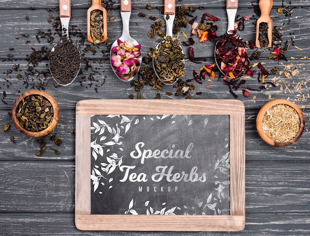 Tea concept on wooden table mock-up
