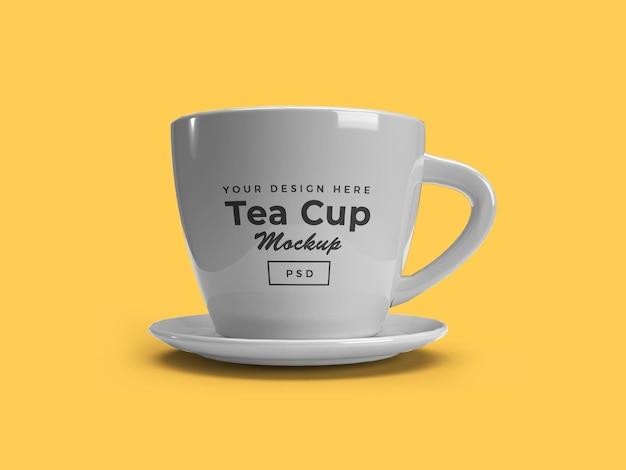 Tea cup on plate 3d mockup design