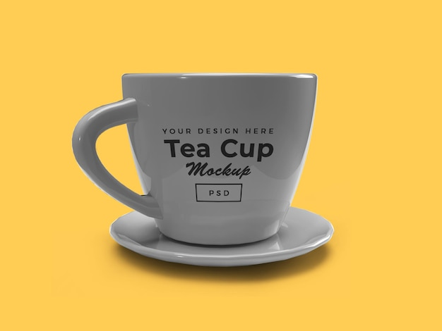 Tea cup on plate 3d mockup isolated design