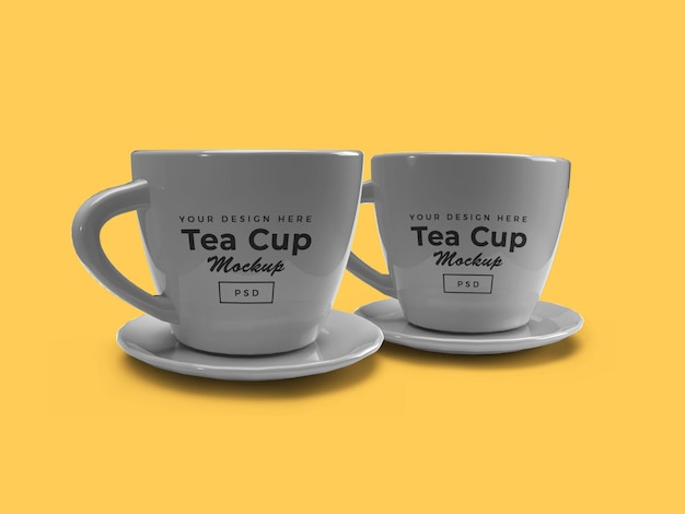 Tea cup on plate 3d mockup