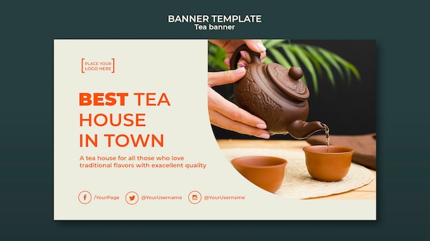 Tea house ad banner template