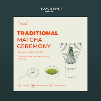 Tea house ad square flyer template