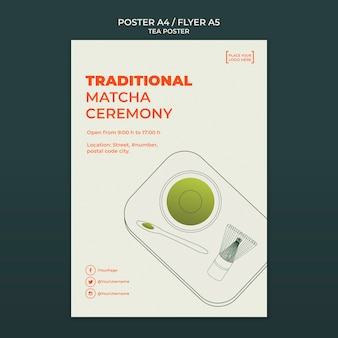 Tea house flyer template