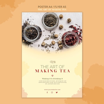 Tea house poster template