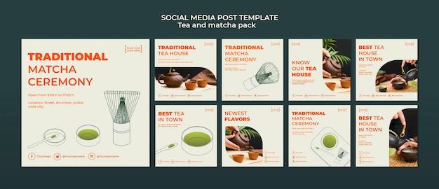Modello di post social media casa da tè