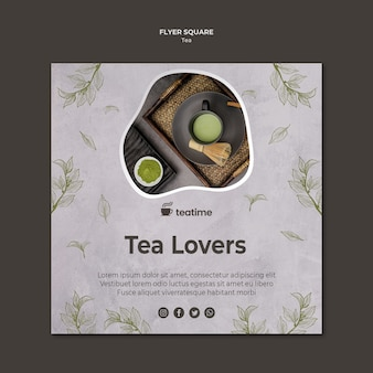 Tea loves square flyer template