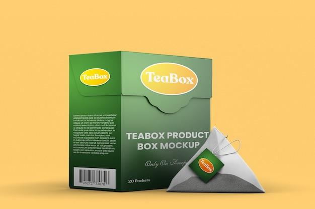 Макет фирменной коробки для чайного продукта с пакетиком чая