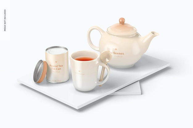 Мокап чайной сцены