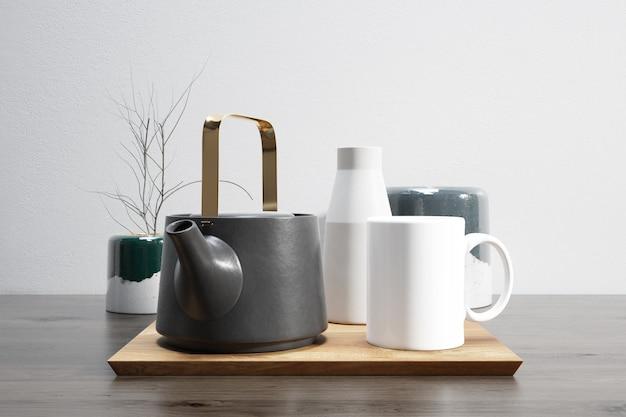Tea set on wooden tray