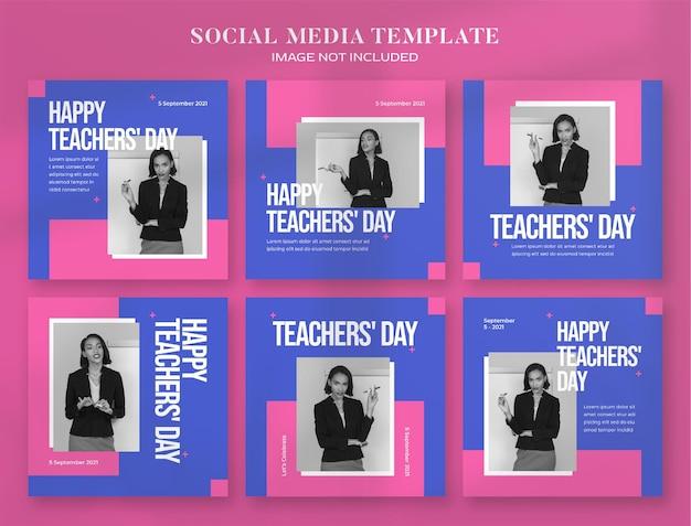 День учителя баннер в социальных сетях и шаблон сообщения instagram Premium Psd