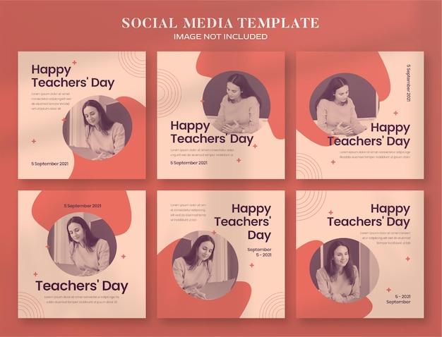 День учителя баннер в социальных сетях и шаблон сообщения instagram