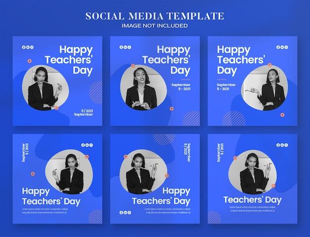 Teacher day social media banner and instagram post template