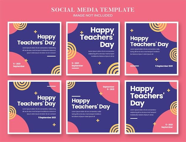 Teacher day social media banner and instagram post template Premium Psd