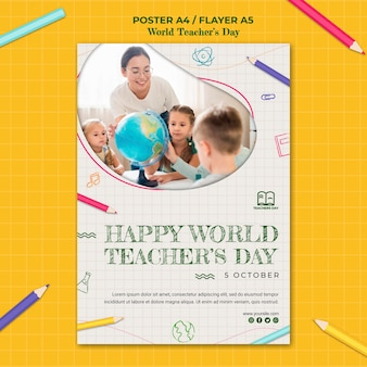 Teacher's day flyer template