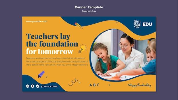 Teacher's day horizontal banner template Free Psd
