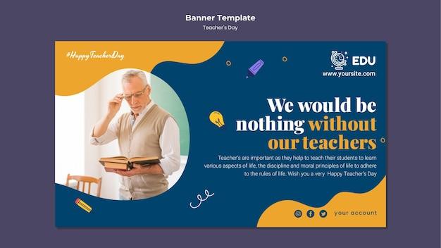 Teacher's day horizontal banner template