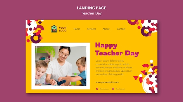 Modello di pagina di destinazione del giorno dell'insegnante