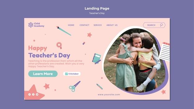 Teacher's day landing page template Premium Psd